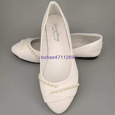 Ivory white pearls flat ballet Wedding shoes Bridal pumps bridesmaid size 5-9