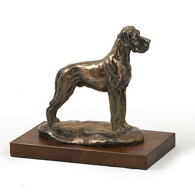 Great Dane Uncropped,dog bust/statue on wooden base , ArtDog Limited Edition, CA