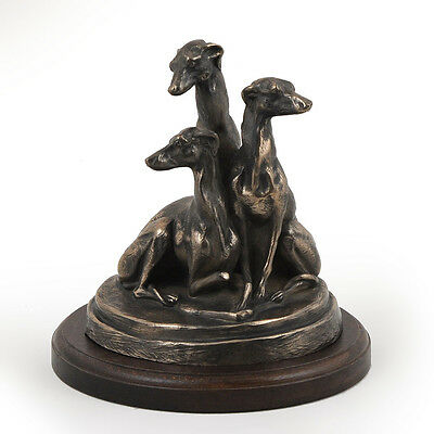 Whippets , dog bust/statue on wooden base , ArtDog Limited Edition, CA