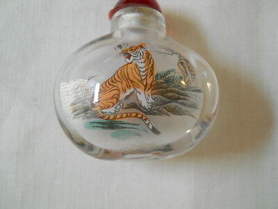 China collectible old internal painted ? tiger snuff bottle