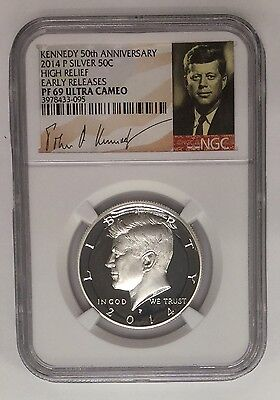 2014-P ~ 50C Kennedy Silver Half Dollar NGC PROOF 69 HIGH RELIEF Early Releases