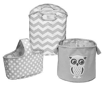 Canvas Nursery Storage Set Grey Owl Caddy Tote Organizer 3 Piece Delta Baby New