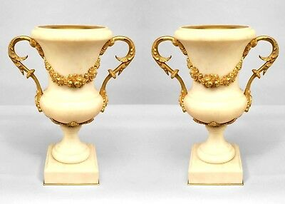 Pair of French Louis XVI Style Ormolu Mounted White Marble Urns