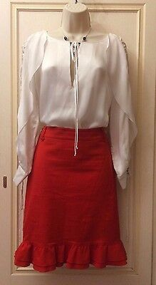 Gonna Rossa Al Ginocchio Denny Rose Tg. S 42 Donna Made In Italy Pencil Skirt