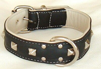 Black and Cream Studded leather dog collar