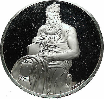 MOSES with COMMANDMENTS by Michaelangelo Proof Silver Christian Medal i60779