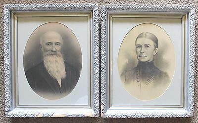 """Antique Vtg Pair 2 Silver Gilt Ornate Gesso Picture Portraits in Frame 24"""" x 20"""""""