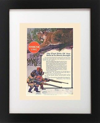 Antique Remington UMC Big Game Rifle MOUNTAIN LION Hunting Lodge Gun Art Print