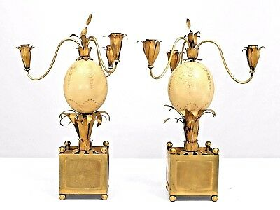 Pair of French 1940s Brass Palm Design and Ostrich Egg 3 Arm Candelabra