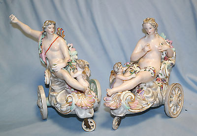 Meissen Pair of Porcelain Chariots Female/Make Nymphs Early 19th Century