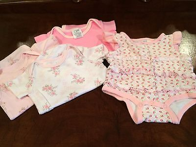 4 First Impressions Baby Girl 0-3 Months Rompers Bodysuit Tops Pink Floral