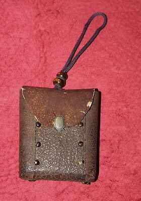 Japanese antique Tabako-ire tobacco pouch with horn ojime in hyotan shape