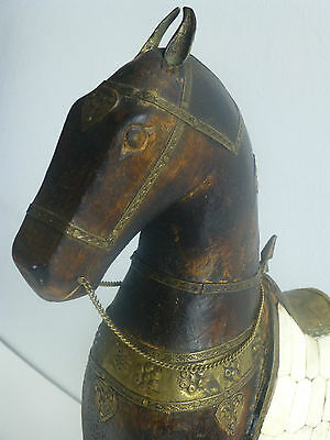 GRAND Vintage INDIAN HORSE SCULPTURE Hardwood & Copper and Bone!