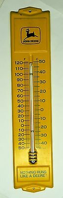 Vintage John Deere Tractors Metal Advertising Thermometer Yellow Works Runs