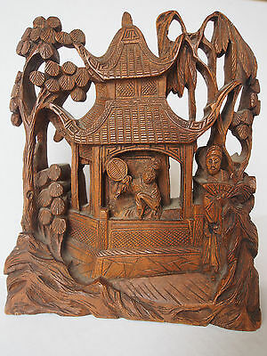 Antique Chinese 19th c Carved Rosewood Figural Pagoda Man Lady w/ Fan~Sculpture