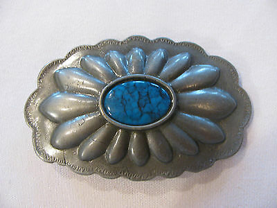 Silver Tone Concha Belt Buckle w/ Oval Turquoise Stone Accent