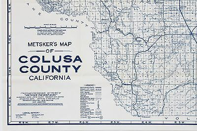 Colusa California Map County Blue Line Large Railroads Mines Mendocino ORIGINAL