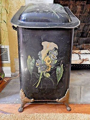 Antique Victorian Coal Bin Hod With Copper Liner Hand Painted Lilies And Pansies
