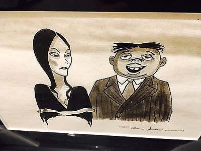 Charles Addams Original Portrait Drawing of MORTICIA and GOMEZ ADDAMS, Signed!