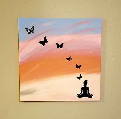"""Outsider Art """"Letting Go"""" Meditating Sunset Butterflies 20x20 Signed by SLBerm"""