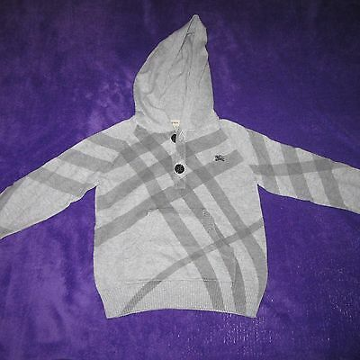 $150 Burberry Boys Hoodie Sweater Gray 2 Button Cashmere And Cotton Size 3Y