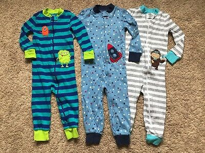Little Me Toddler One Piece Cotton Pajamas Sleepwear, Lot Of 3, 3T, NWOT