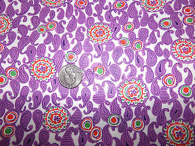 "Beautiful Vintage Purple Paisley Print Cotton Fabric 35"" X 3 Yards"