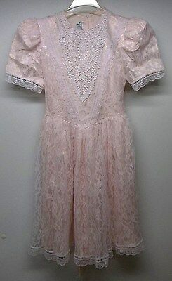 Vintage Gunne SAX Pink Satin With Ivory LACE Dress  Trim Girls Size XL Formal