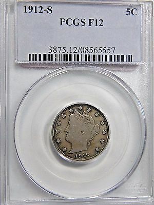 1912-S LIBERTY 5c PCGS F-12 HANDSOME KEY DATE