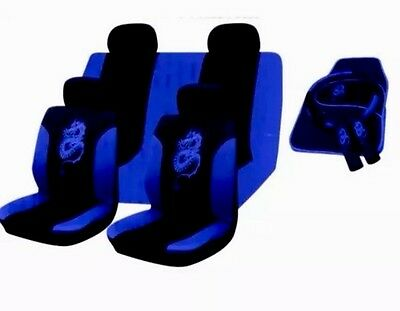 15Pc Dragon Style Universal Full Car Seat Cover Set Blue Black Washable Material