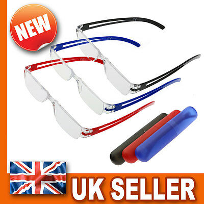 Branded Lightweight Rimless Reading Glasses - Unisex Mens Womens & Carry Case