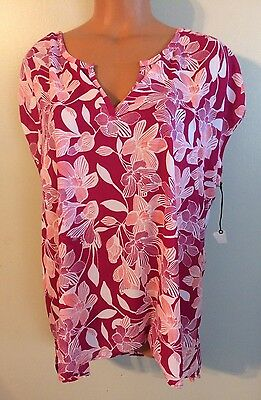 •• NWT Women's Size XL Stylus Blouse Flowing Sheer Shirt SS V Neck Top Nice!