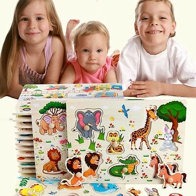 Zoo Animals Wooden Jigsaw Children Kids Baby Learning Educational Puzzle Toy