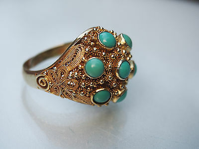 Antique Chinese Gold on Silver Turquoise Filigree Dome Cocktail Adjustable Ring