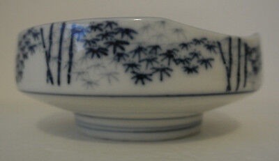 OLD UNMARKED BOWL Blue & White Porcelain BAMBOO Tree Dish ASIAN CHINESE JAPANESE
