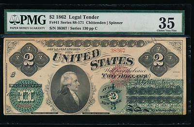 AC Fr 41 1862 $2 Legal Tender PMG 35 EARLY TYPE !!!