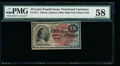 AC Fr 1271 $0.15 1869 fractional 4th issue PMG 58 red seal blue end paper