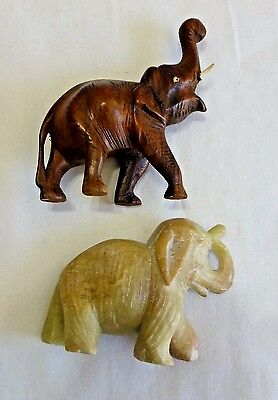 Antique Pair of Chinese Carved Wood and Stone Elephants