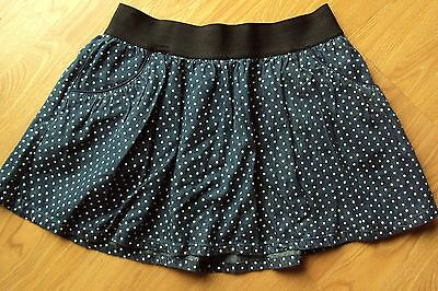 Girls Justice 100% Cotton Navy Blue Polka Dot Skort Skirt With Shorts Size 16