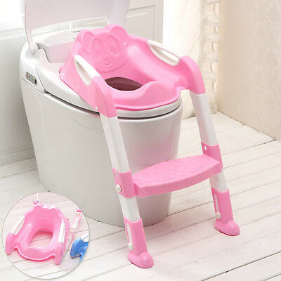 Pink Toilet Potty Trainer Seat Chair Toddler Kid Ladder Step Up Training Stool