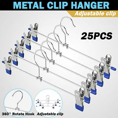 25PCS Metal Hanger Trousers Adjustable Clothes Pant Skirt Coat Clip Hook Holder