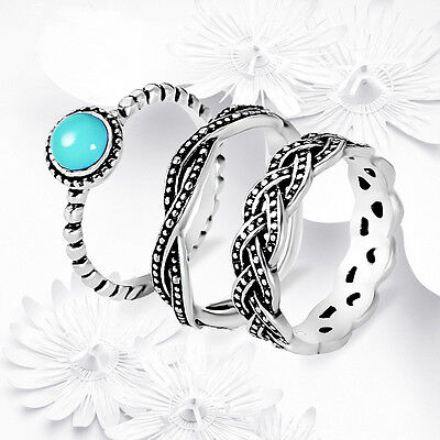 New Antique 925 Silver Turquoise Birthstone Stackable Ring Set Wedding Party