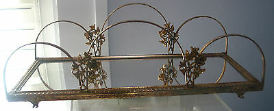 "Vintage Ornate Vanity  Mirror Gold tone, Roses 14 1/8""by 6 1/817 4 3/8""tall"