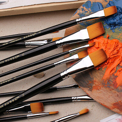 9x Wooden  Painting Brushes Set Artist Nylon Hair Oil Painting Drawing Pen