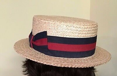 Vintage Ponte Rialto Venice Straw Boater Hat Italy Size 64~8 Excellent