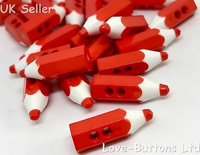 5 Cute Red Pencil Crayon Shaped Buttons Sewing Knitting Scrapbooks School