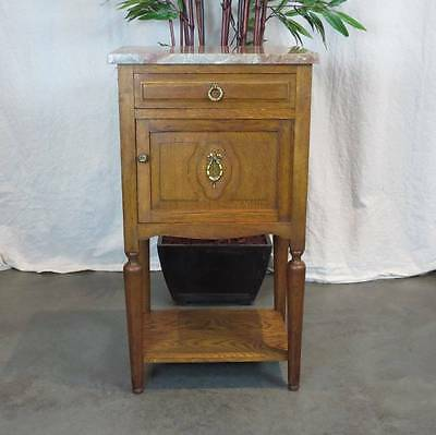 Antique French Marble Top Oak Side Cabinet with Porcelain Interior