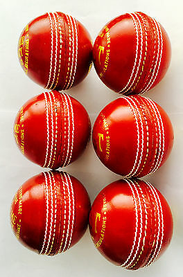 .6x4Pcs RED CRICKET PRACTICE BALL PURE LEATHER - HAND SEWN-SINGLE BALL$18