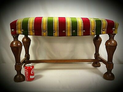 Antique French Piano Bench Wood Chair Stool Vanity Upholstered Seat Fireside