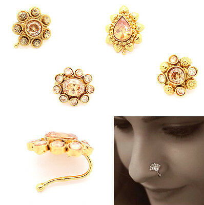 Indian Diamante Nath Nose Ring Nose Chain Bridal Party Hoop Jewellery Bollywood